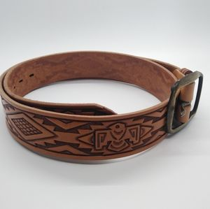 Tooled Leather Belt Southwestern Aztec Eagle